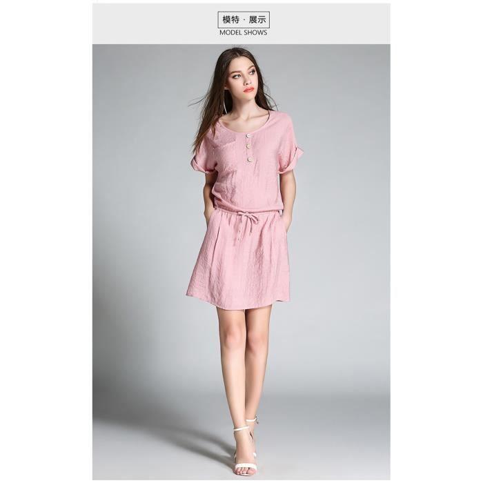 femmes robe décontractée, plus la taille nouvelle été 2018 manches courtes grande taille noir rose