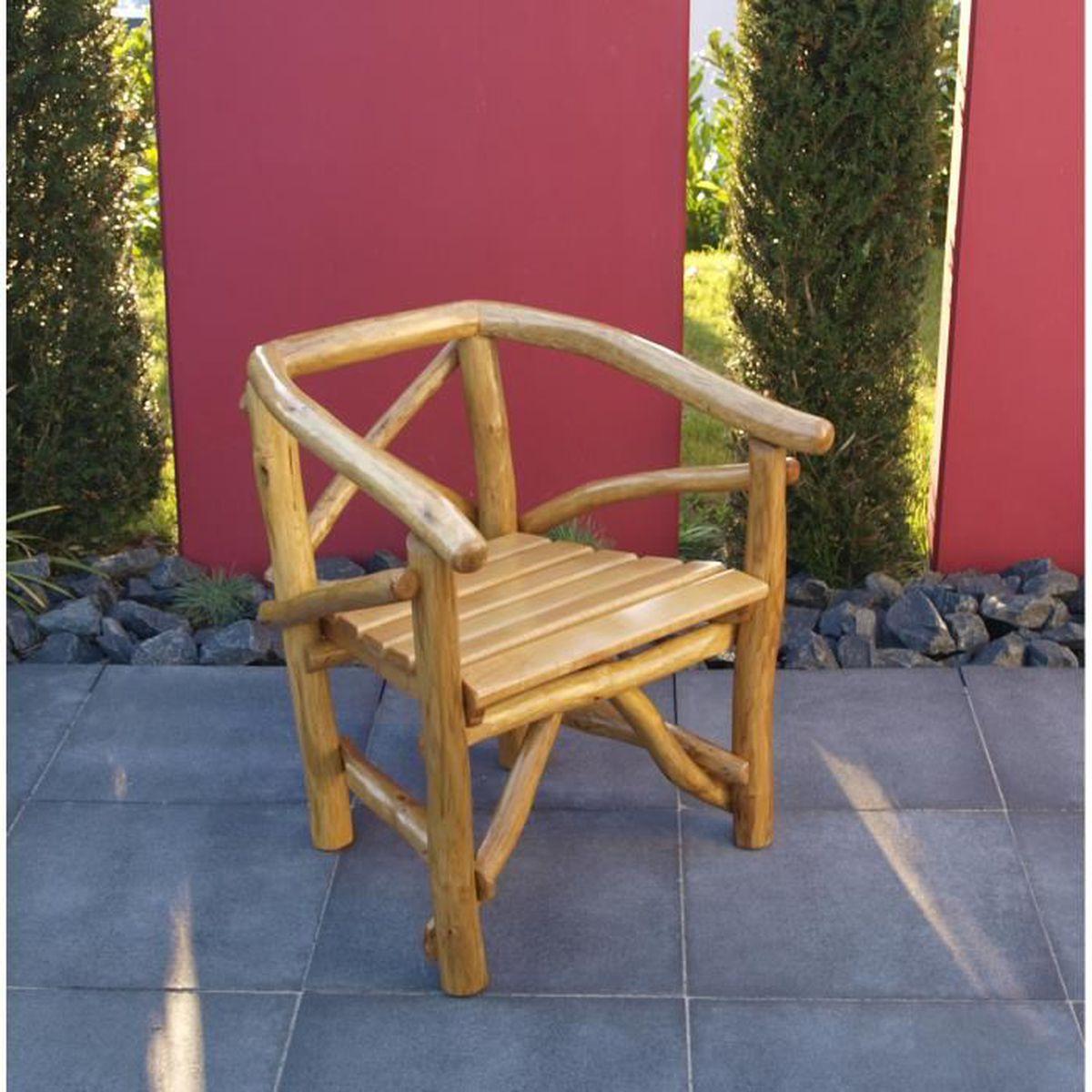 Fauteuil chaise salon de jardin bois chêne clair ROSSBACHTAL - Achat ...