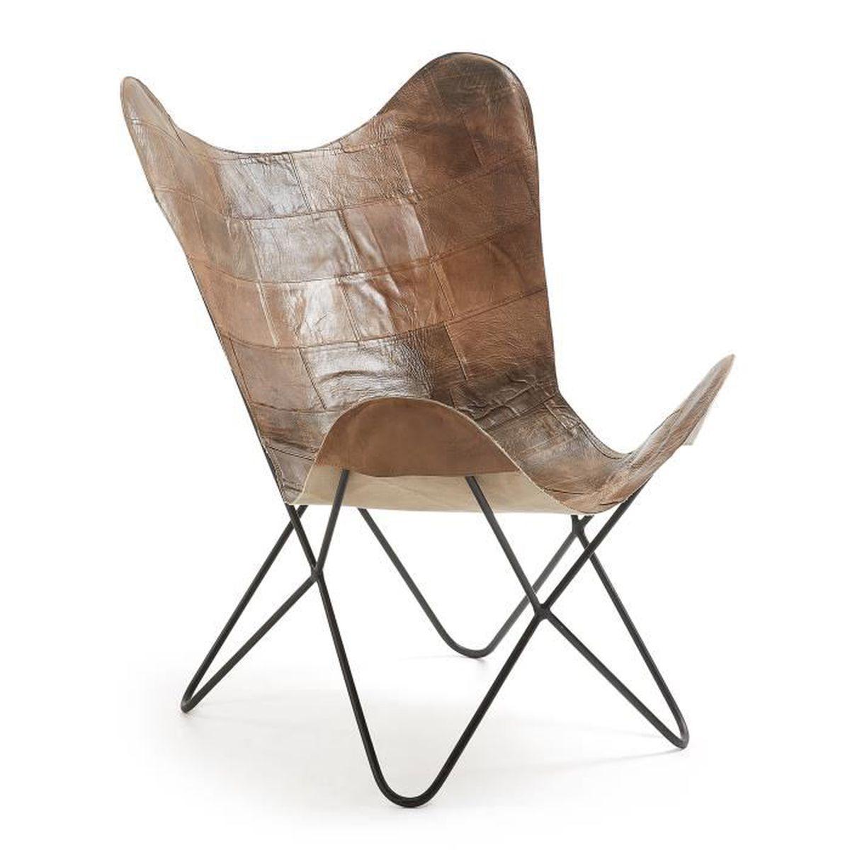 Fauteuil Fly cuir marron Achat Vente fauteuil Marron Soldes