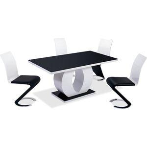 TABLE À MANGER SEULE TABLE DE SALLE À MANGER RETANGULAIRE LAQUÉE NOIRE