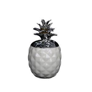 OBJET DÉCORATIF Pot ananas - 15 cm - Blanc et argent