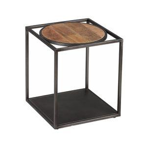 BOUT DE CANAPÉ Bout de canapé carré Métal/Bois - KNOX - L 40 x l