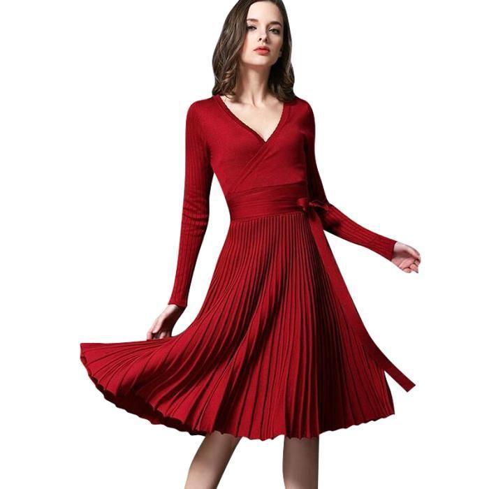 Robes pour femmes Robe en mousseline de soie à manches longues V-A-Line Sweat à manches longues et manches longues Robe à manches