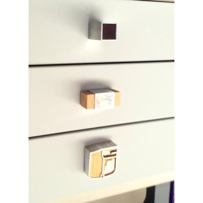bouton de meuble aluminium et bois achat vente poign e bouton meuble bouton de meuble. Black Bedroom Furniture Sets. Home Design Ideas