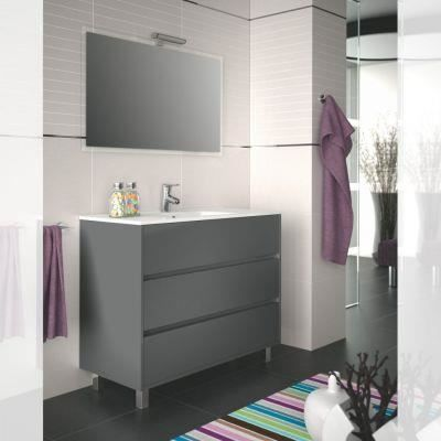 Meuble salle de bain 100 cm couleur gris achat vente for Meuble sdb 100 cm