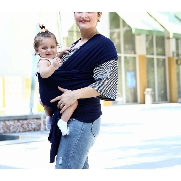 2120c8c8eda Écharpe de portage pour porter bébé porte kangourou baby carrier Sac à dos  Porte Bébé coton élastique tabouret bébé-Bleu froncé