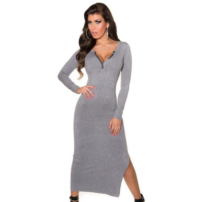 robe longue fendue + strass TU gris