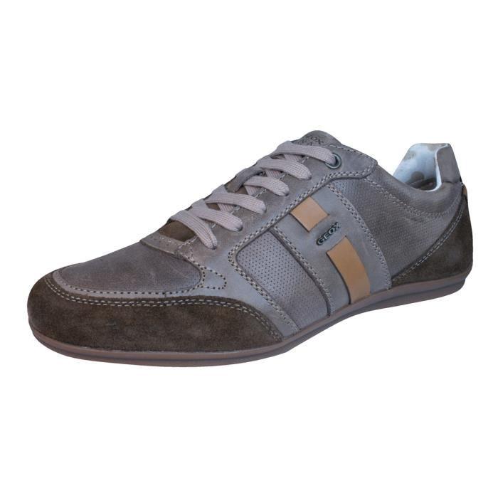 Geox U Houston A Cuir Hommes Sneakers Sport Brown 9