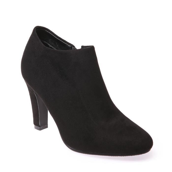 a5548f0ab56 La Modeuse - Low boots basses en suédine à talon Noir Noir - Achat ...