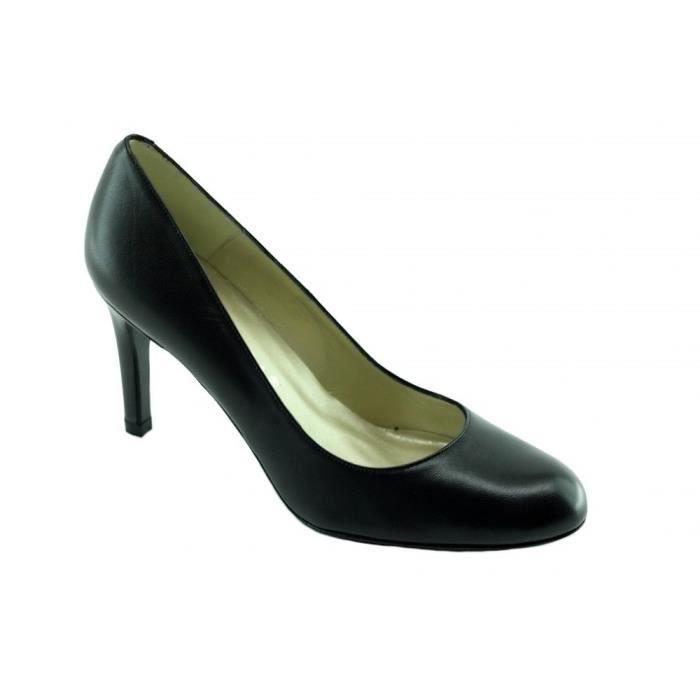 Meli - Escarpins bout rond talon haut aiguille chaussures petite pointures Femme marques Angelina cuir lisse noir