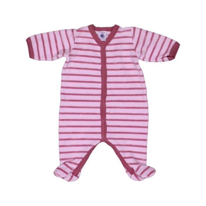 Pyjama 1 pièce bébé fille PETIT BATEAU 1 mois rose hiver - vêtement bébé   1051611 5e143e1363e