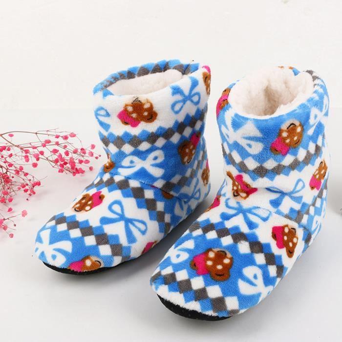 Sidneyki®Femmes Dames Coton Chaud Pantoufles D'intérieur Doux Peluche Noël Chaussures café WE684