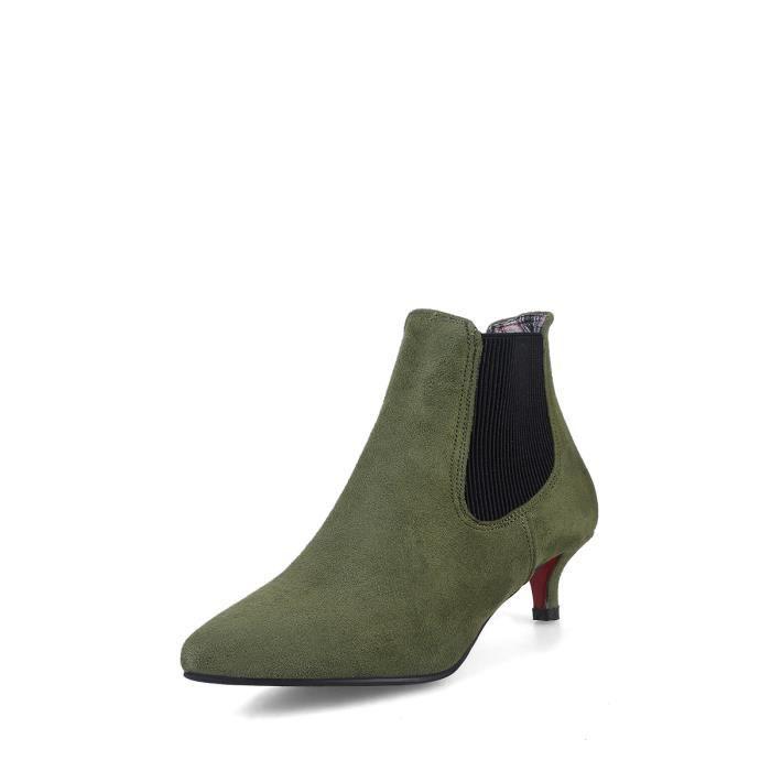 Bottes de femme Solide Couleur sélectionl Comfy Suede cheville talon mince Chaussures bout pointu 9749084