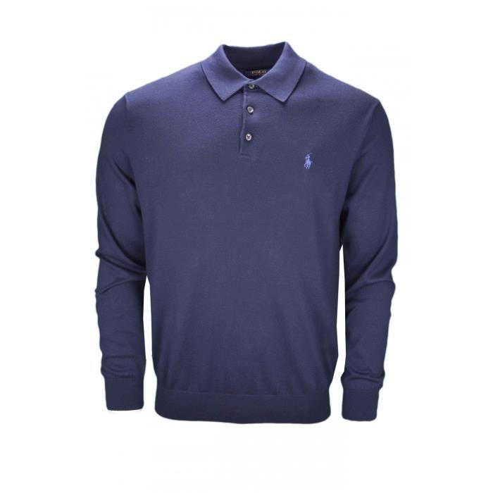 Pull col polo Ralph Lauren bleu marine pour homme - Taille  S - Couleur   Bleu d56742c7ddb6