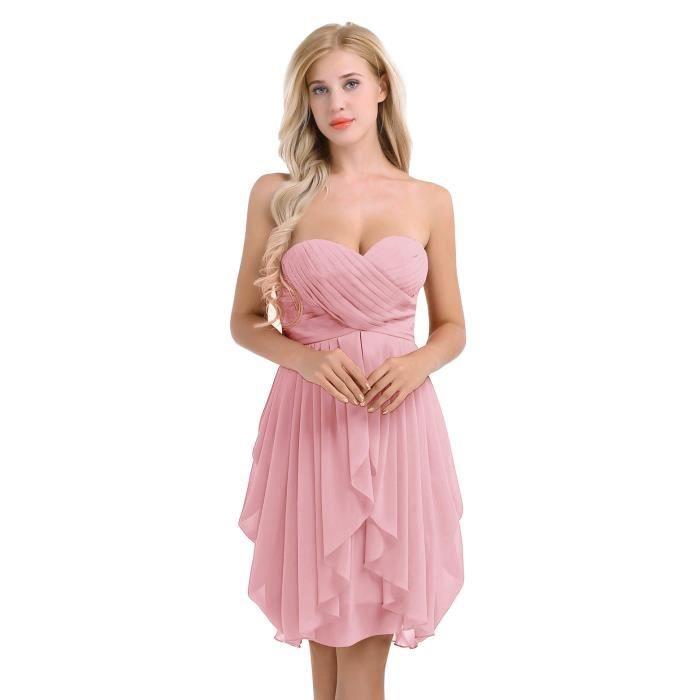 nouvelles variétés promotion la moitié YIZYIF Robe de mariage Femme Adulte Robe de ceremonie soirée Demoiselle  d'honneur Cocktail Epaules Dénudées 34-46