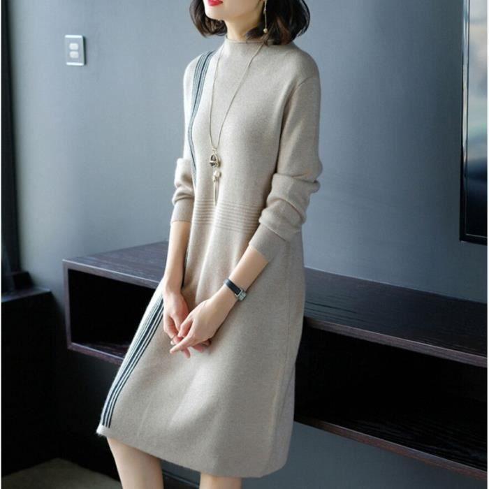 f46aab4c4f1 Femme Mode O Neck Robe en maille de Laine Couture à Rayures En vrac Style  Grande Taille Milieu Longue Automne Hiver Pull Robe Gris