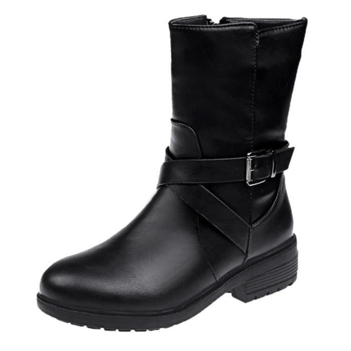 Femmes Boucle Strap Bout Carr Bottes Rond Chaussures Cuir En Talon Noir Martin rrpAOF