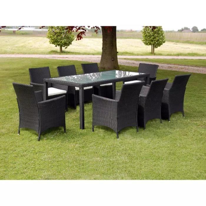 Jeu De Mobilier De Jardin 17 Pcs Ensemble Table Chaise Faute De Jardin Noir Resine Tressee