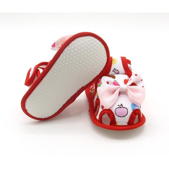 Napoulen®Bébé filles d'été Chaussures Bow douce semelles enfants Sandales anti-dérapant ROUGE-XPP2017323 VTIhrg8w