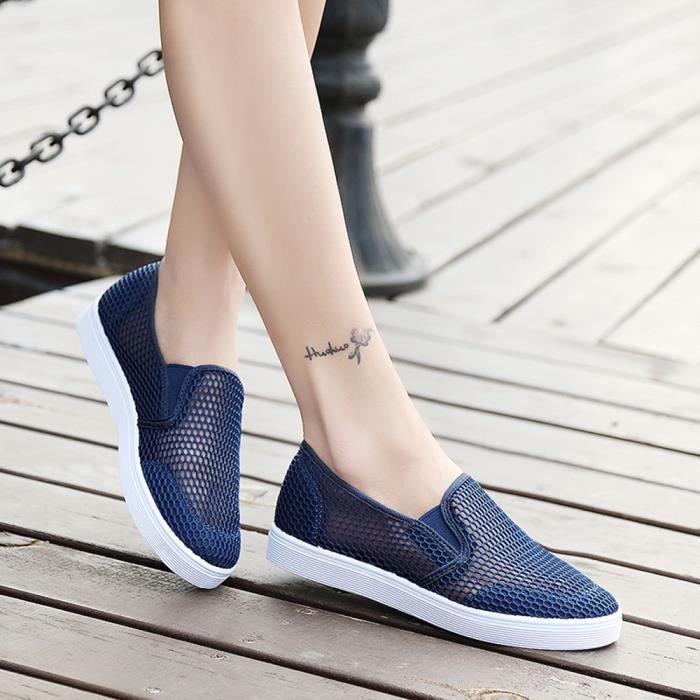 Bleu Creux Fonc Maille Femme Course Souples Plates Baskets Chaussures De Respirante UqU1xzrCw
