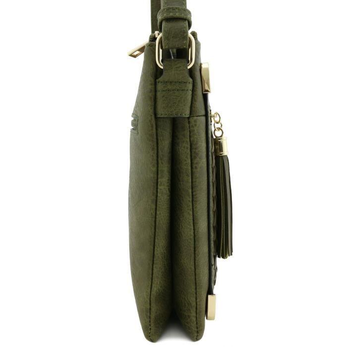 Double compartiment ROULÉ Sac bandoulière avec pompons Zipper Accent M8JP5