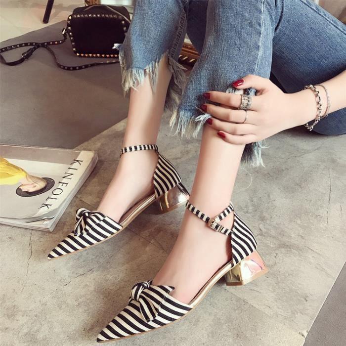dames d'été simples chaussures minceur sandales arc décoré avec des talons hauts sexy rayures,noir,39
