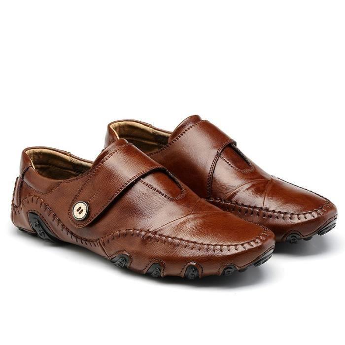 Mode Chaussures de conduite en cuir pour homme (noir, marron) Taille: 38-47,marron,47