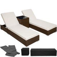 Chaise longue, Transat, Bain de soleil en Aluminium & Poly Rotin Marron TECTAKE + Table + 2 Sets de Housses + Protection Par 2