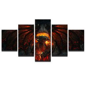 TABLEAU - TOILE Toiles imprimées 5 pieces World of Warcraft Dragon