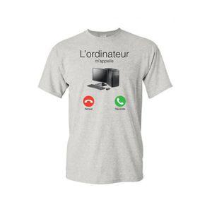 T-SHIRT T-shirt col rond enfant ordinateur m'appelle gris