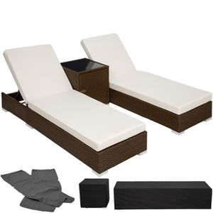 chaise longue alu résine tressée chocolat