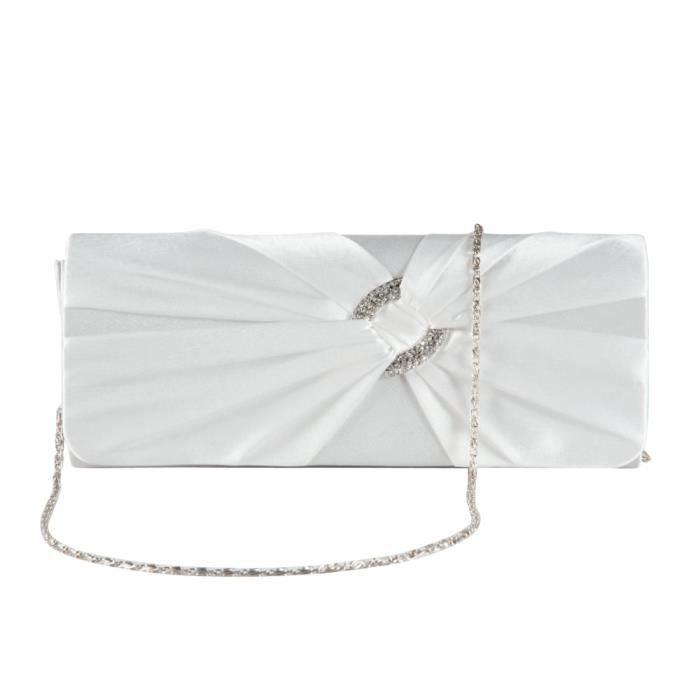 Strassé Plissé Style Pochette Avec Chainette De Pour Noeud Blanc Portefeuille Main Rabat Sac Soirée Femme Décoré A Satin F8OnqnYHR