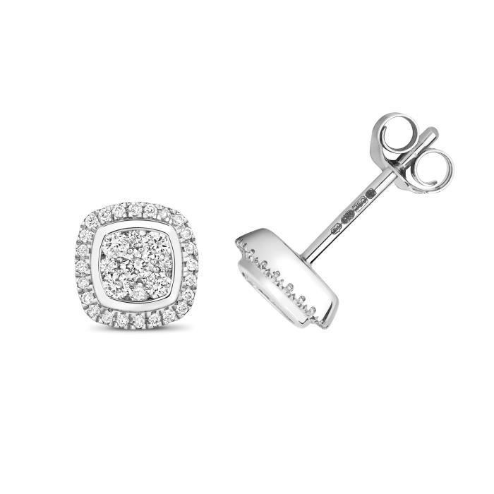 Boucles dOreilles Femme Or Blanc 375-1000 et Diamant Brillant 0.24 Carat H - I1 - 7mm*7mm 35802