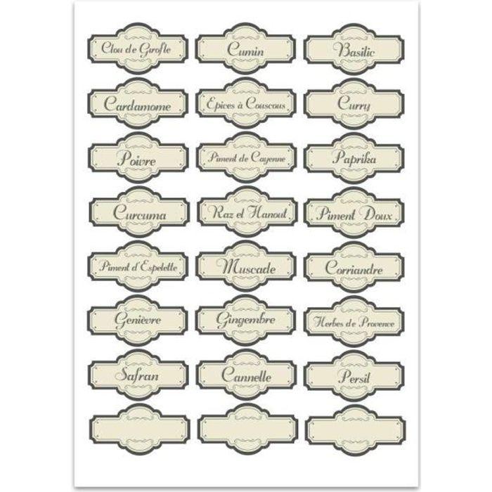 planche a4 de stickers tiquettes bocaux pices achat vente stickers cdiscount. Black Bedroom Furniture Sets. Home Design Ideas