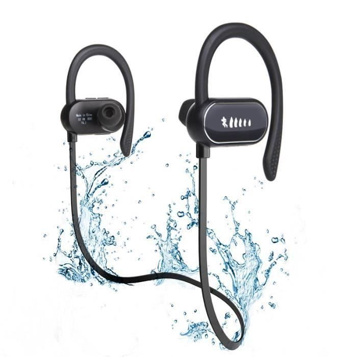 Écouteur Bluetooth Sans Fil Oreillette Étanche Ipx7 Sport Avec Crochet Casque Intra-auriculaires Microphone Intégré Écouteurs (noir)