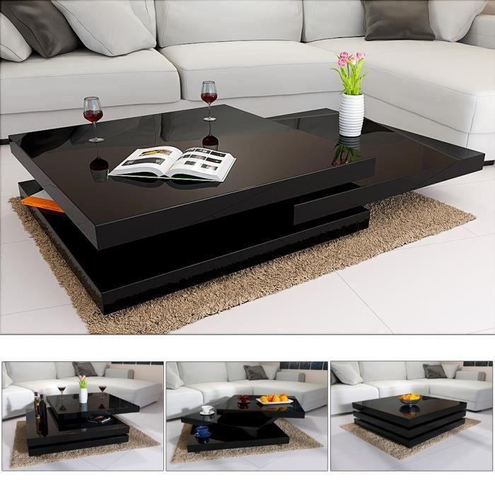 TABLE BASSE Table basse de salon noir moderne 80x80cm laquée b