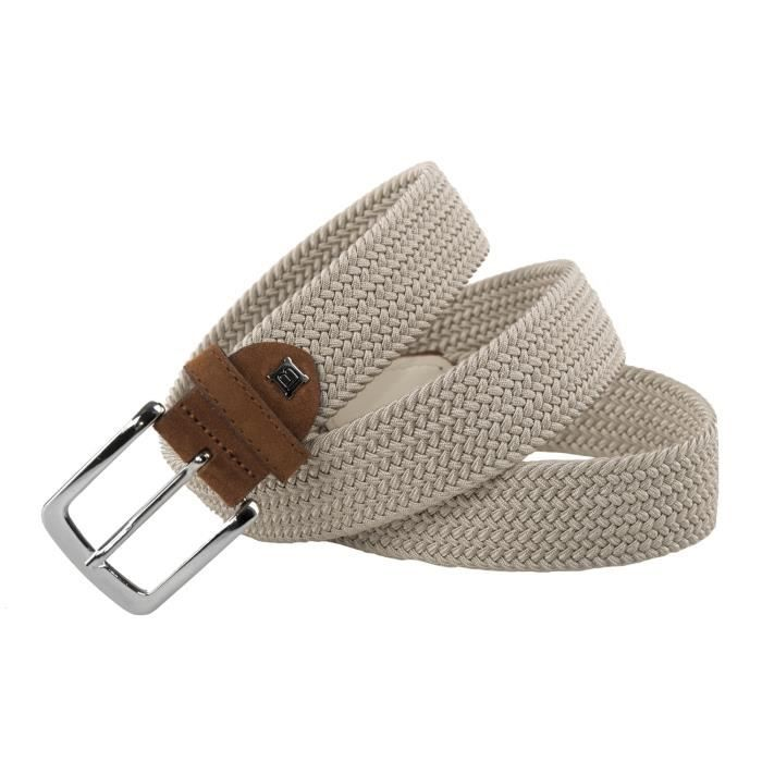 4bf1426bdfb Ceinture homme LAURA BIAGIOTTI beige MADE IN ITALY corde elastique 107 cm  R6048