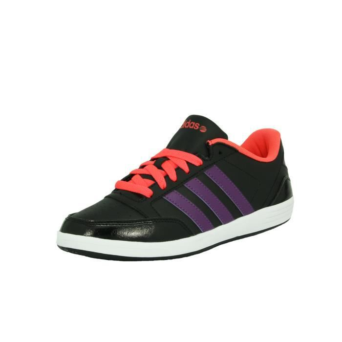d77a9841c9acd adidas Neo VLNEO HOOPS LO W Chaussures Sneakers Mode Femme Noir Rose Violet