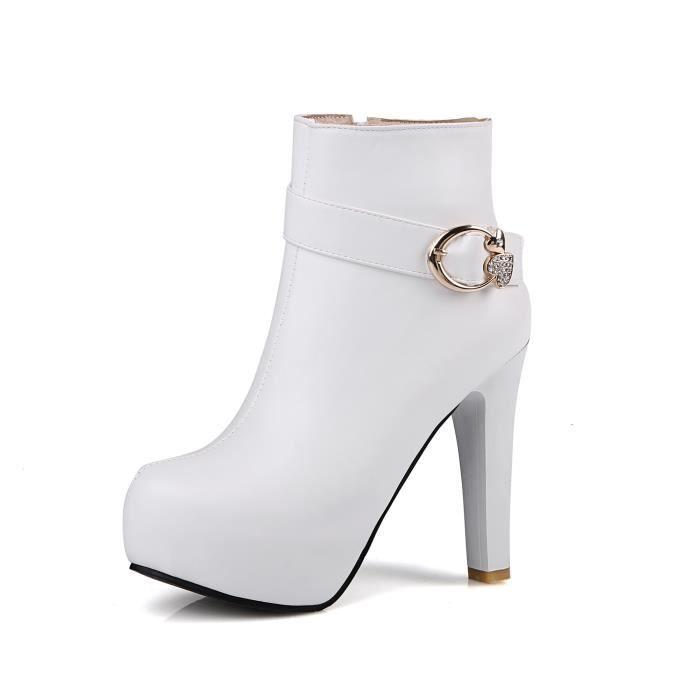 Bottes femmes bottes épaisses avec un seul ress...