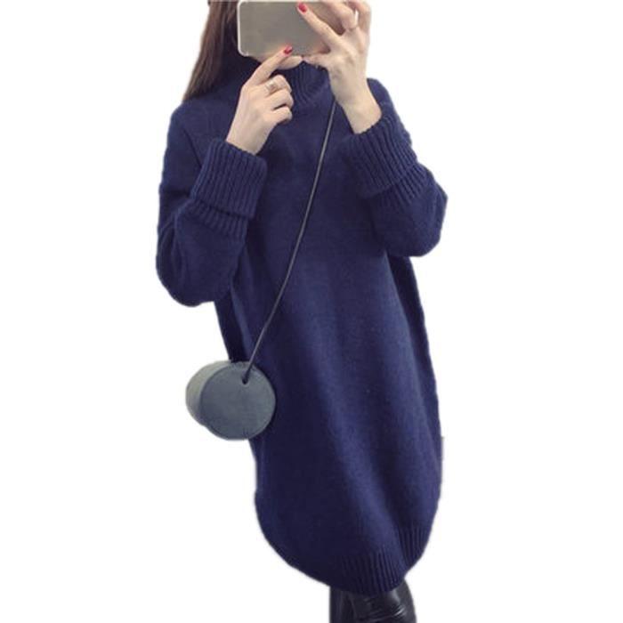 Pull Robe Femme Chandail Manches Longues Sweat-... Bleu foncé ... 79d2320af980
