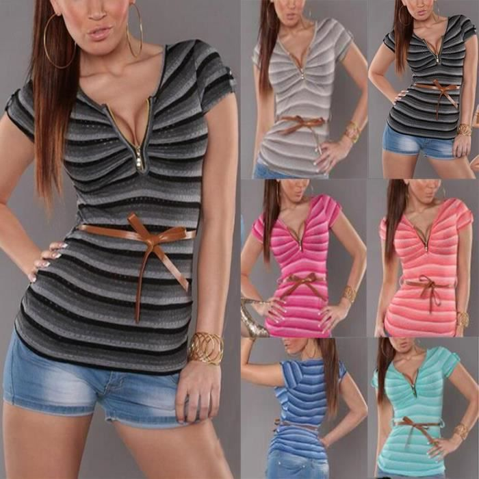 ad72f512PinkMode femme col v manche courte T Shirt rayures impression Slim  Fit Sexy Tee Tops Blouse Rose 5ced676b763