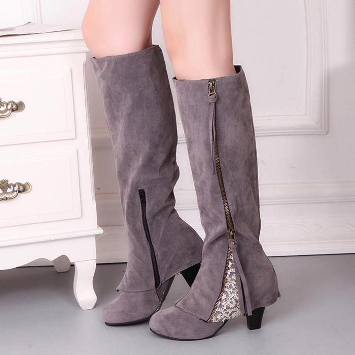 Sidneyki®Femmes Femmes Wedge Buckle Biker Cheville Garniture à talons hauts Zip Lace Bottines Chaussures Gris WE613