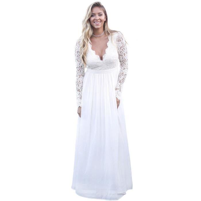 dentelle robe de femmes patché à manches longues de couleur unie v cou maxi robe longue