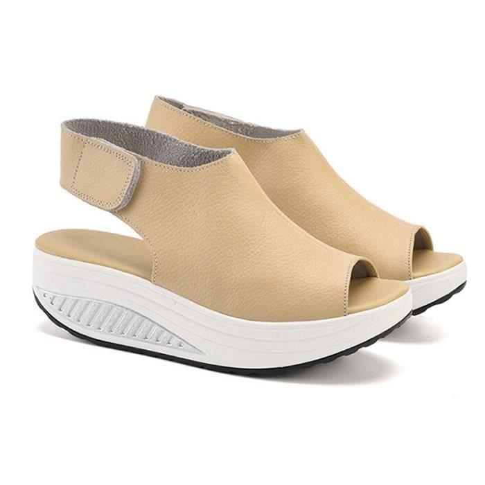 amp; Sandales Wedges Femmes Eté plate Escarpins femmes Talons fond Femme Waterproof Printemps Chaussures Poisson bouche 39; épais 68A85q