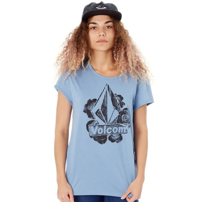 8fd85ae0c84 Tee shirt Femme Volcom Radical Daze Washed Bleu Bleu Bleu - Achat ...