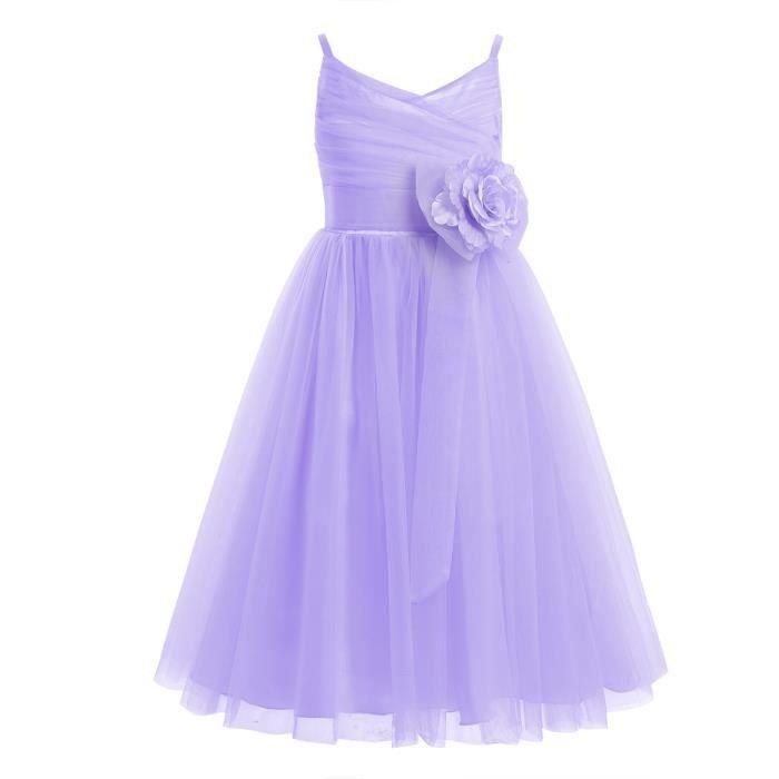 acc273595edc7 Robe de cérémonie -Tulle filles bébé Princesse enfants Mariage - De 2 à 12  ans Fête D anniversaire spectacle