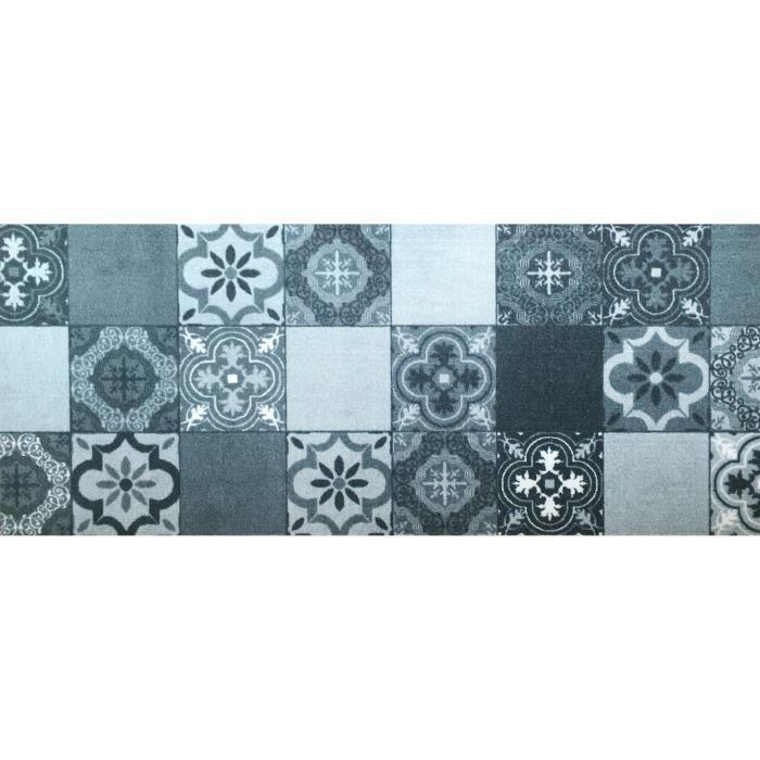 Tapis de cuisine en polyamide Carreaux de ciment - Dim : 50 x 120 cm
