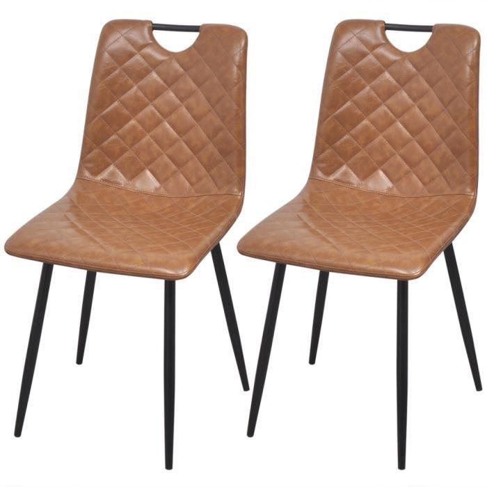 vidaxl chaises 2 pcs en cuir artificiel marron cla - Chaise Cuir Vintage