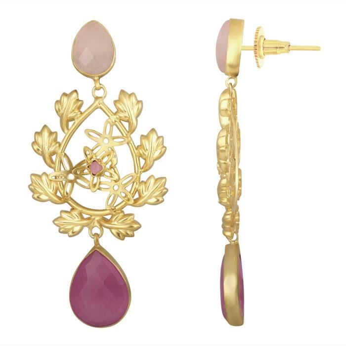 Womens Leaf Gold Plated Party Wear Twines Laurel Wreath Pink Synthetics Stones Drop Dangle Earring ITP29