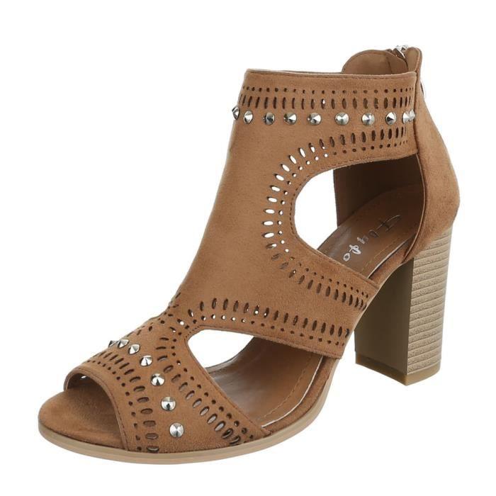 femme sandalette chaussure escarpin Chaussures de soirée Élégant Fête Club High-Heel riveroccupé High Heels Camel